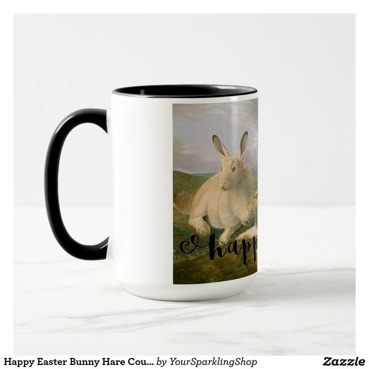 #HappyEaster Bunny #Hare Couple Watercolor Vintage #Easter #Mug