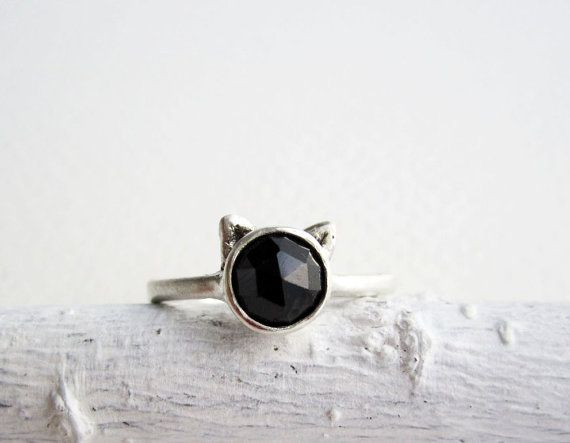 Black Cat Ring, Black Spinel and Sterling Silver, MADE TO ORDER