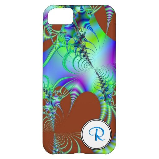 Fractal 45 iPhone Case. A beautiful green, blue and purple fractal design on a brown background.Customizable with your initials.
