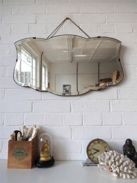 Vintage bord biseauté grand mur miroir Art déco miroir Frameless belle forme