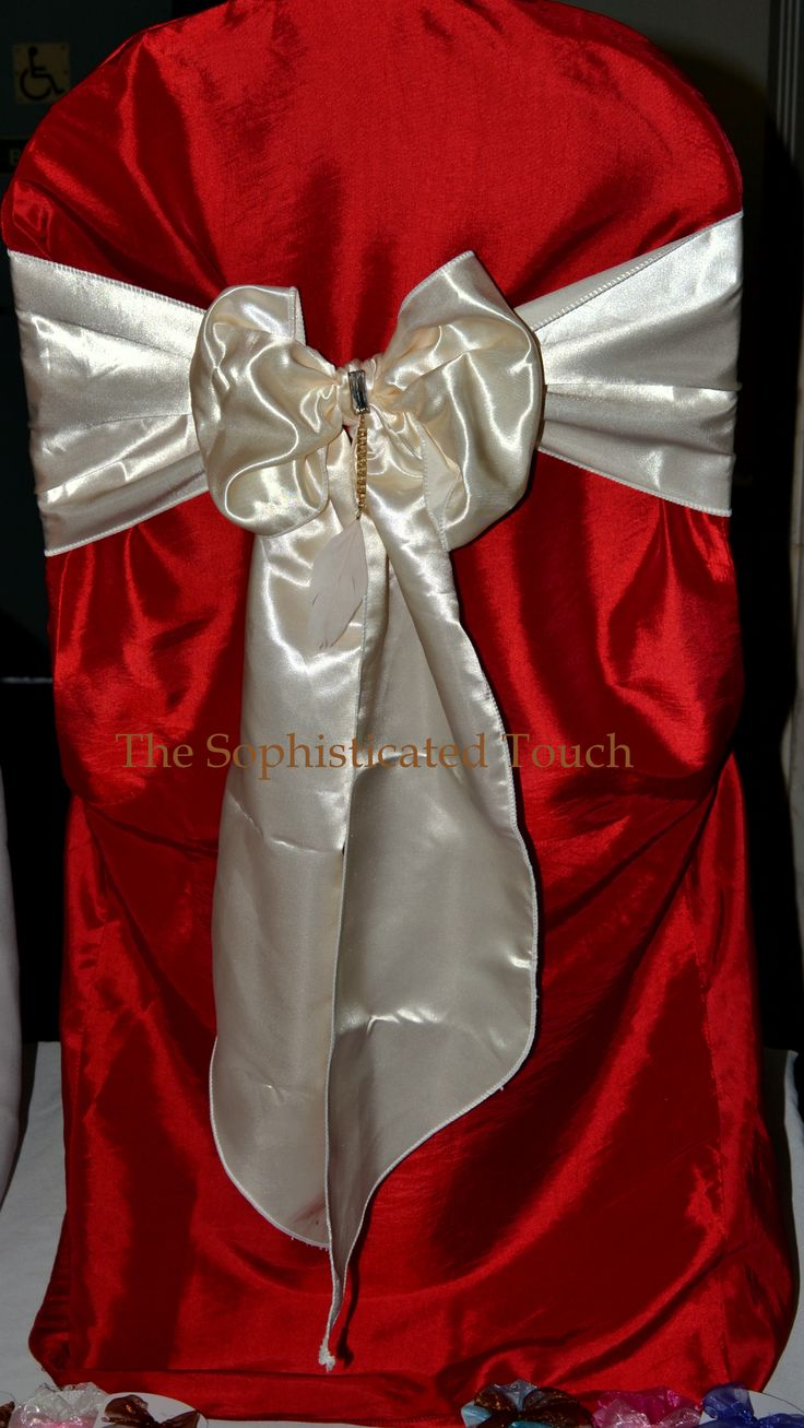 Red Satin Chair Cover with Ivory Bow  The Sophisticated Touch ...Chair Covers by Design   www.thesophisticatedtouch.co.uk