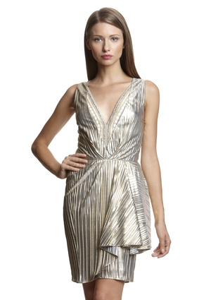 MARK + JAMES Plunging V-Neck Cocktail Dress with Peplum Accent