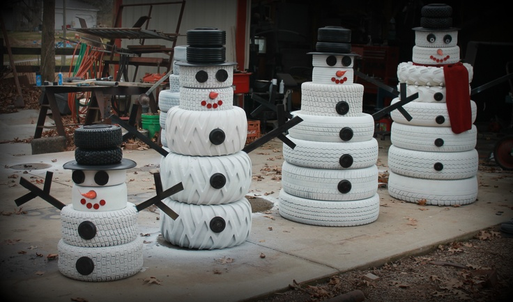This is what you can make from used tires , a pizza pan , a fake carrot, and painted wood pieces for the eyes and mouth  . Scrap pieces of wood for the arms !!!   U can use it all winter long !