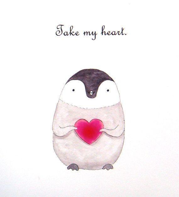 Baby Penguin Love Illustration Print Black & White Red Heart Home Cute Art Wall Decor 5x7