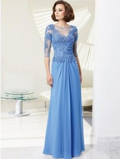 Princess Scoop Neckline Floor-length Chiffon Mother of the Bride Dress With…