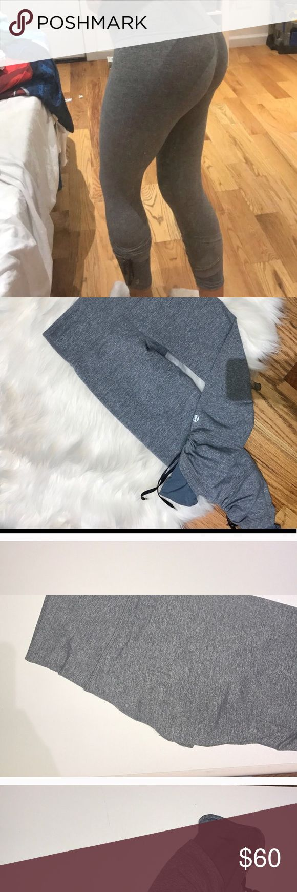 Grey lululemon leggings Rouched meshed legging on the bottom   In good condition. lululemon athletica Pants Leggings