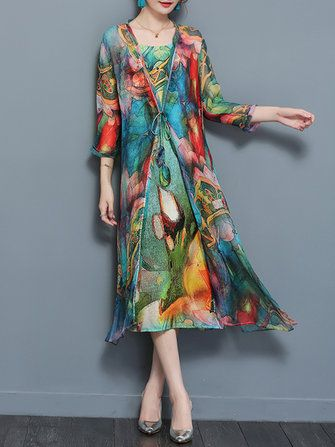 Only US$35.99 , shop Gracila Vintage Two Pieces Set Straps 3/4 Sleeve Print Dress at Banggood.com. Buy fashion Floral Dresses online.