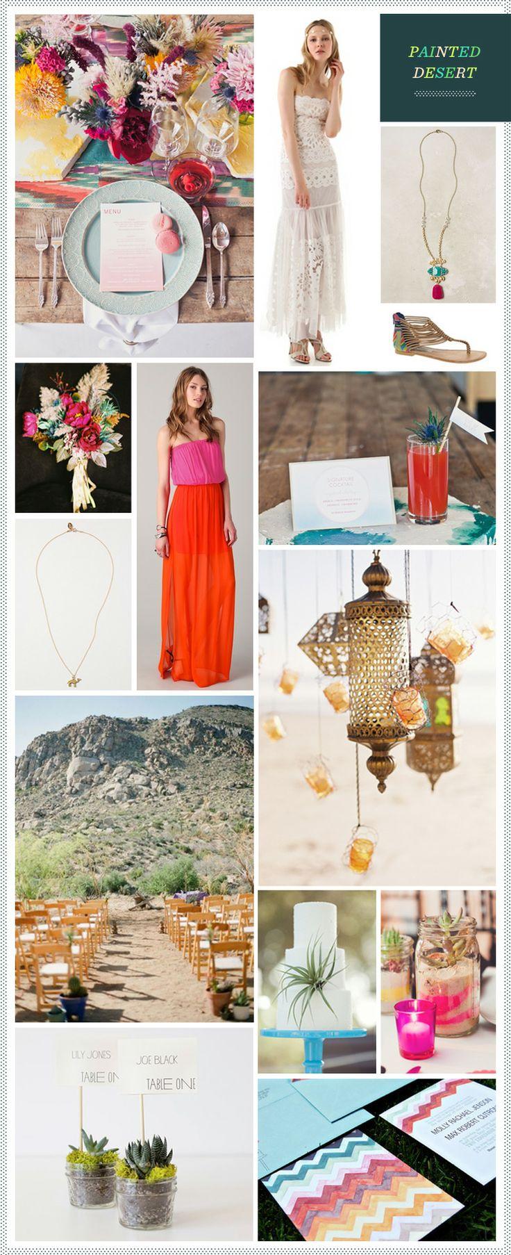 Painted Desert Wedding InspirationDesert Wedding, Wedding Inspiration, Dreams Wedding'S 3, Inspiration Boards, Belle, Colors Ideas, Painting Deserts, Bohemian Deserts, Deserts Wedding