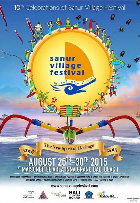 """10th Sanur Village Festival will be held on 26-30 Agustus 2015, with theme """"Dewa Warsa"""" at Maisonette Area, Segara Beach, Sanur, Denpasar Bali. Sanur Village Festival will be held like the festival before, but with the new package. The program will be held such as festival, exhibition, culinary, art, photography, fun activities, sports, cultural dialogue and SanurRun. SanurRun star from Mertasari Beach at 06.00 pm, the SanurRun participant can breathe the beach air, comfortable and enjoy…"""