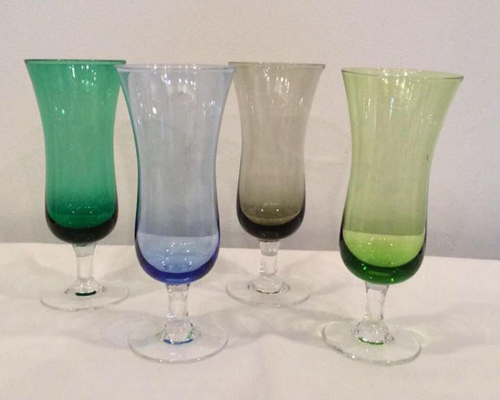 champagne flutes wine glasses multi color vintage wedding toasting gift 1950's set of 4 by Vintageroyaleny on Etsy https://www.etsy.com/listing/517669589/champagne-flutes-wine-glasses-multi