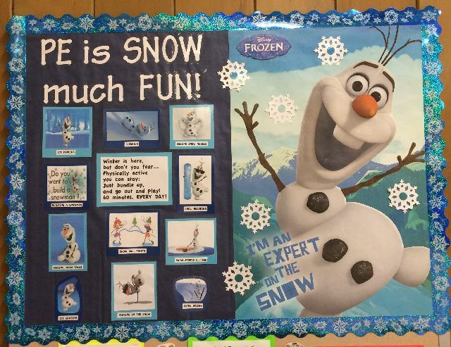 "I love this FROZEN bulletin board. Could be incorporated with ""reading is SNOW much fun."""