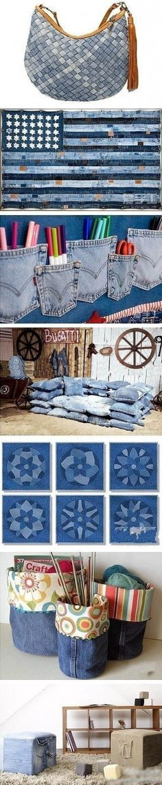 Cool Jean Crafts - ideas and inspiration for using old jeans