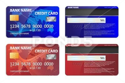 Realistic blue and red bank credit card template isolated. Bank plastic credit S…