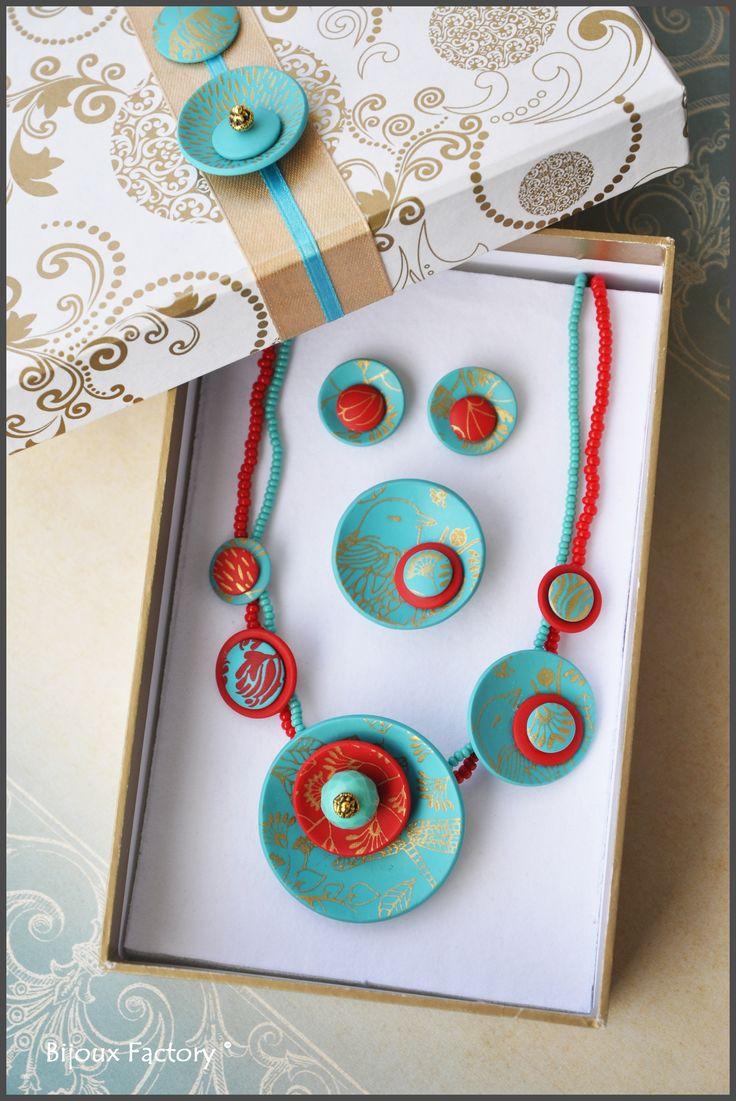 Krabička na šperky má rozměry 16, 8 x 10, 8 x 4, 3 cm (d x š x v), je zlaté a bílé barvy s tyrkysovými dekoracemi vytvořenými stejnou technikou jako samotný šperk. Uvnitř krabičky je molitanové lůžko pokryté bílým sametem, šperky jsou proto jako v peřince.