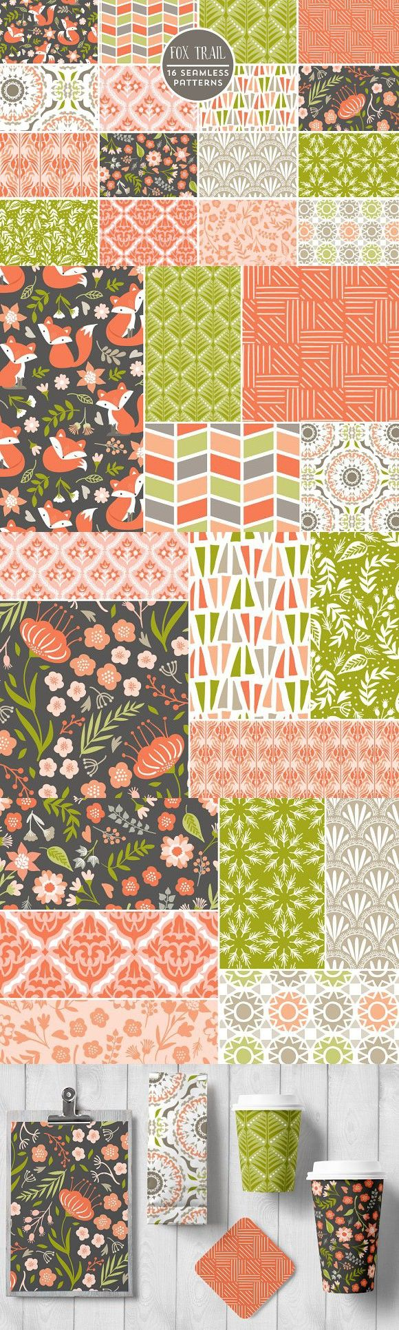 Fox Trail Seamless Backgrounds. Patterns