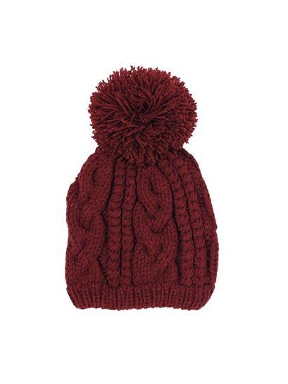 West Coast Wardrobe Prep School Cable Knit Beanie with Pom Pom In Oxblood