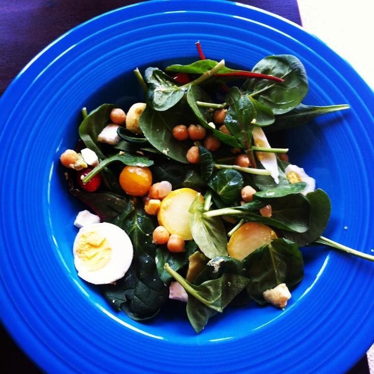 ... tomatoes, feta cheese, squash, hard-boiled egg, and garbanzo beans