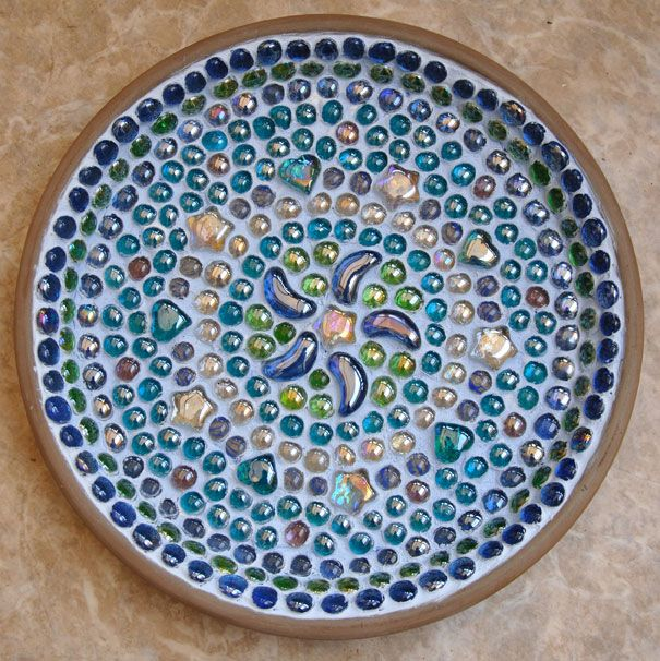mosaic with broken clay pots | Mosaic Bird Bath and News | Earth and Hearth