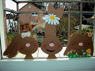 Fensterbilder aus Tonkarton Fenstergucker:Super schönes Oster-Hasen-Trio 3tlg.XL