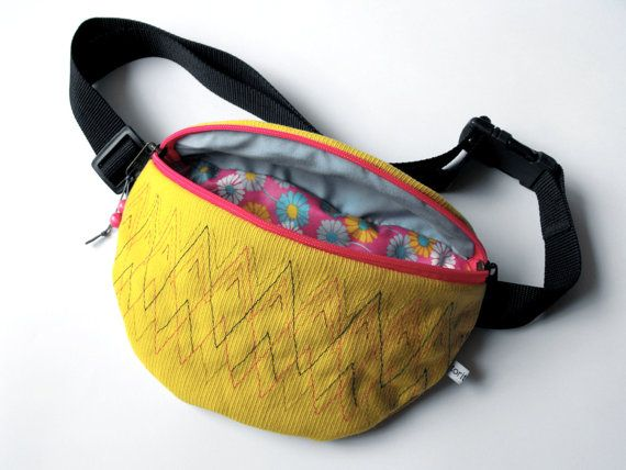 fanny pack/hip bag  yellow/banana and pink big size by toritextil