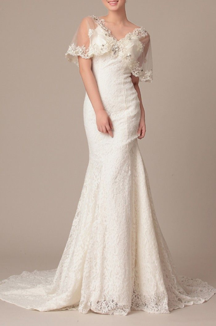 Lace Natural Spaghetti Straps V neck Trumpet Sleeved Wedding Dress_w20311