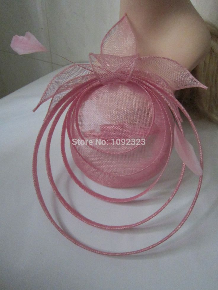 pink color disc fascinator,pillbox fascinator,sinamay fascinator:YRFC14153