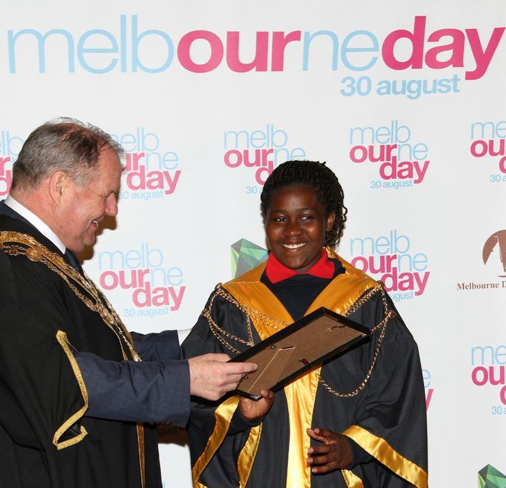 Ebony Chiazor being awarded the 2014 Junior Lord Mayor title by Lord Mayor Robert Doyle. #MelbourneDay #CityofMelbourne #Melbourne