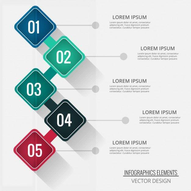 Cuatro opciones en forma de rombo para infografías Vector Gratis