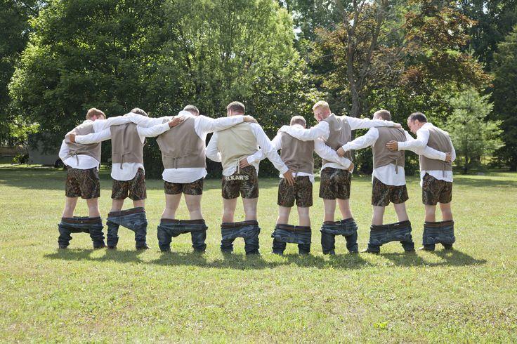 Groomsmen had matching camo boxers!