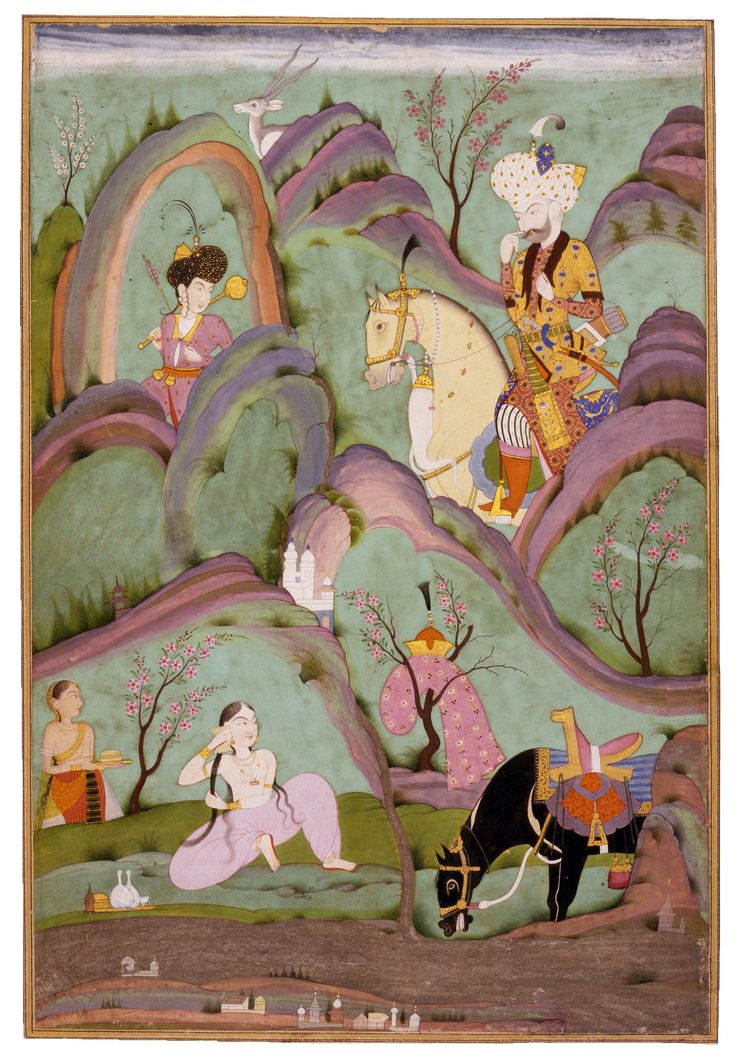 ca. 1730.N. India. Mughal miniature of a 12th C. iranian romance. The man is in persian garb while the woman wears Indian attire.