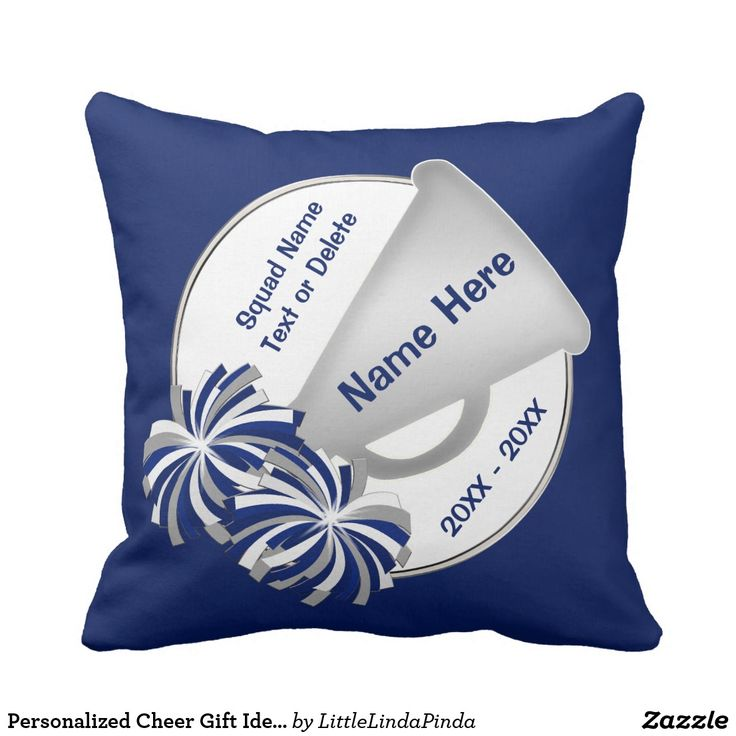 Personalized Cheerleading Team Gift Ideas in YOUR COLORS. Call Zazzle Designer Linda: 239-949-9090 to change the blue cheer pillows colors or designs with or without text templates. CLICK https://www.zazzle.com/z/ohp39?rf=238147997806552929 Cheerleading Bedroom Ideas. Free Custom Designing by Linda to create cheer bedroom accessories, cheer party supplies and gifts. MORE gift ideas for cheerleaders, coaches…