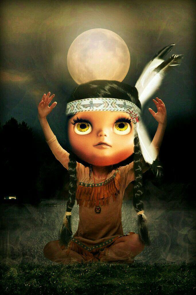 Blythe doll dressed like Pocahontas.