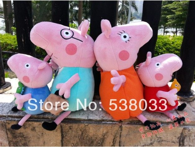 Free shipping 4pieces peppa pig family set plush toys pink pig 25cm George Paige 30cm Mom&Dad pepa plush baby toy george pig  $28.90