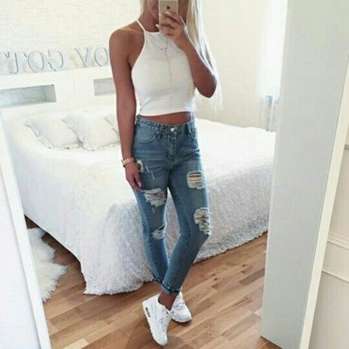 white halter top + distressed denim