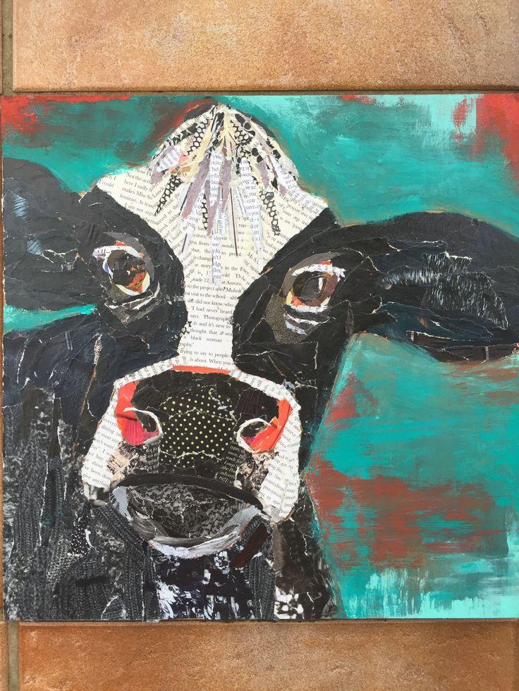 Cow, mixed media, 30x30cm Sue Smyth