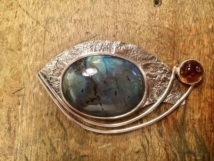Labradorite and Amber silver pendant