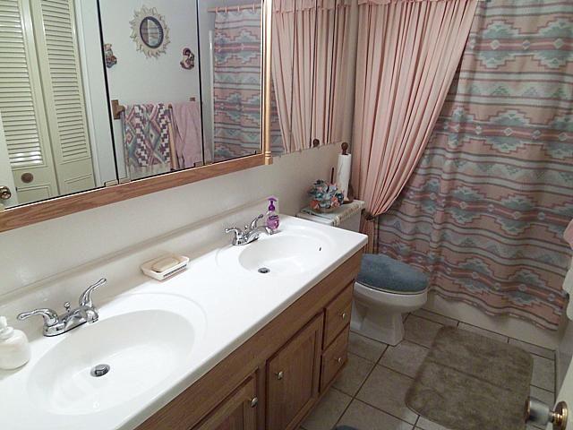 retro 1980s décor bathroom Native American shower curtain Phoenix home house real estate