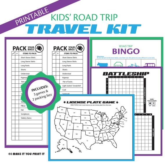 Printable Kids' Road Trip Travel Kit. Includes Car Bingo, License plate game, Battleship, and a packing list.