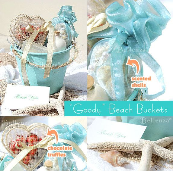 your beach wedding guests with gift buckets beach wedding guests ...