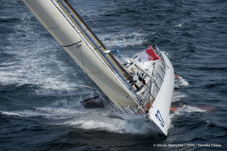 Rich Wilson (USA), skipper Great American IV Sailing aerial images of the IMOCA boat Great American IV, skipper Rich Wilson (US), during training solo for the Vendee Globe 2016, off Les Sables d'Olonne, on October 4, 2016 - Photo Olivier Blanchet / DPPI / Vendée GlobeImages aériennes de Great Amer