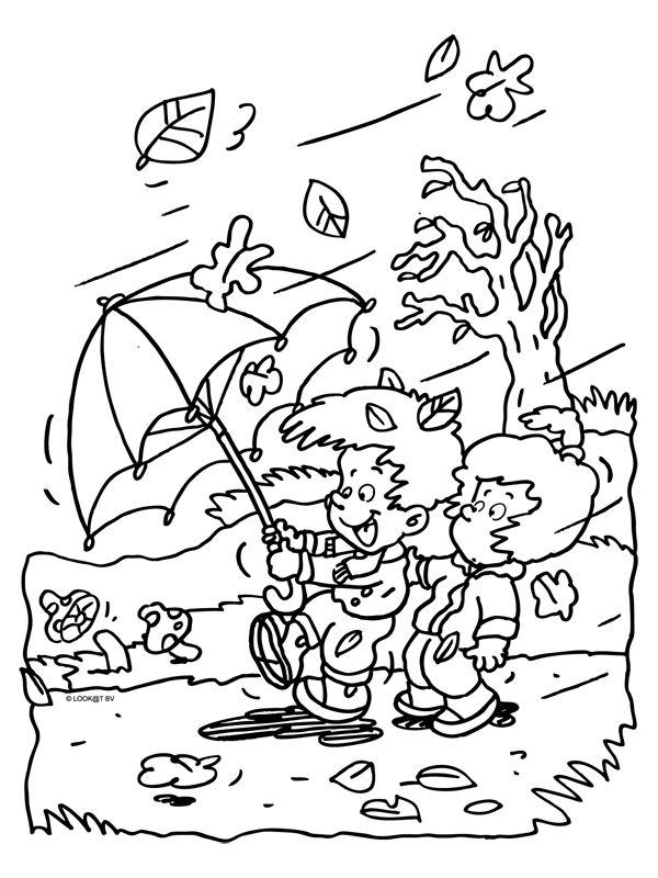 Dieren Plaatjes Zwart Wit Kleurplat Kleurplaat Herfst Storm Wind Regen Kleurplaten Nl