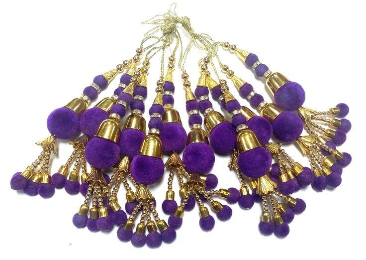 Pompons Décorations rideaux Violet dorés Velours Tassels saris accessoires décoratifs textiles perles Latkans : Déco, Customisation Textile par mercerieindienne