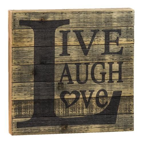 "This rustic, distressed sign is made of wooden slats with the the words ""Live, Laugh, Love"" stained onto the wood This sign will bring a touch of vintage farmhouse decor to your home, and measures 12"""