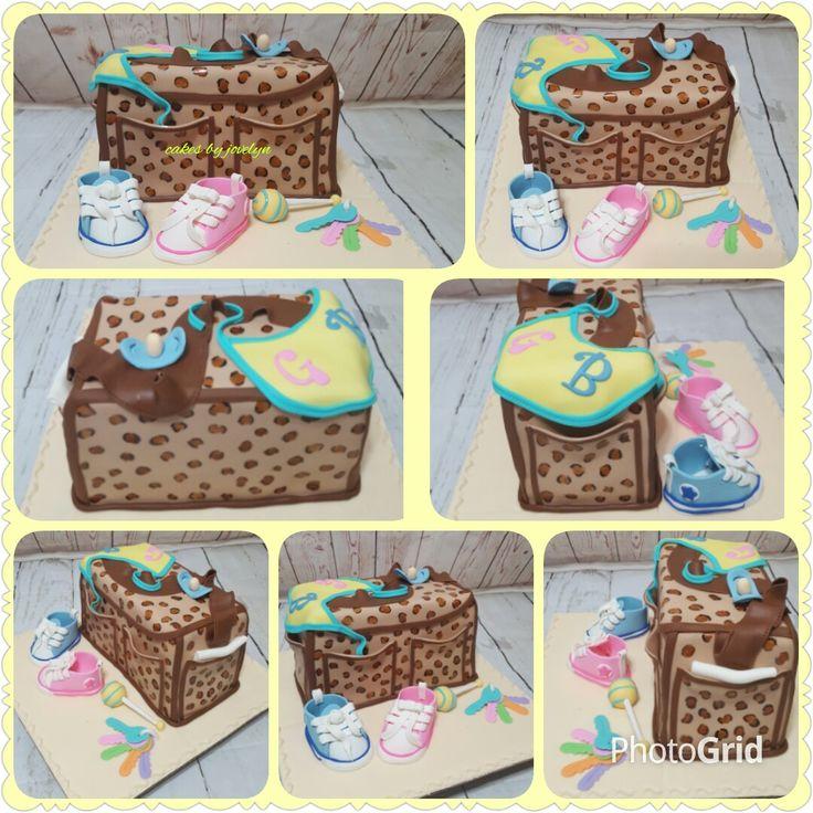 Gender reveal diaper bag cake