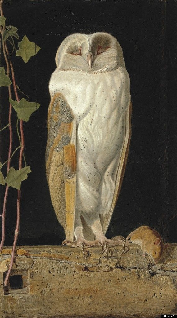 William James Webbe (fl.1853-1878), The White Owl, 'Alone and warming his five wits, The white owl in the belfry sits,' signed with monogram and dated '1856' (lower left), oil on board, 17¾ x 10 3/8 in. (45 x 26.3 cm.)