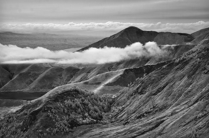 Best Nature category -  A black and white photo of Lake Toba from Tele Tower. (Photo by  Kyaw Win Htun)