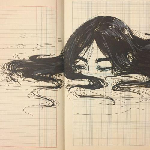 Kunst, Zeichnen auf Raster, Zeichnen in Notizbuch, Blatt, Seite, Mädchen Anime