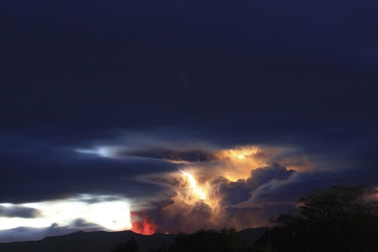 Lightning bolts strike around the Puyehue-Cordon Caulle volcanic chain near southern Osorno city in Chile.