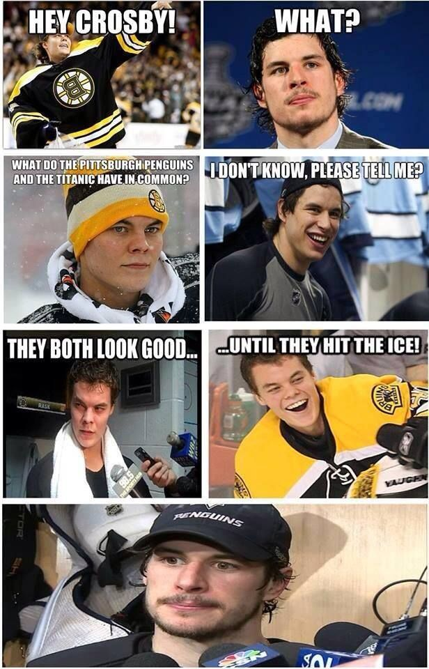 That's funny cause we beat the Bruins the other night lol. Go Pens!