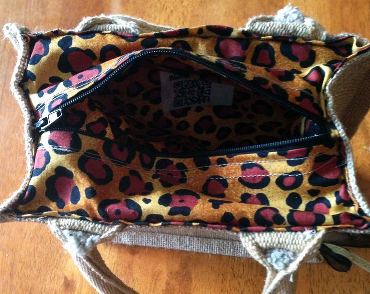 Nutty Makes jute tote bags can be lined at both small and large sizes. Bags can have a zip to keep items safe inside or open with a pocket. Any pattern available. #leopardprint Order your today at http://www.etsy.com/shop/NuttyMakes